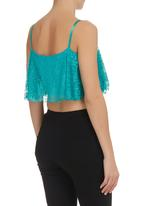 Leandra Designs - Flared Crop Top Turquoise