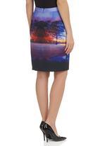 FATE - Sunset Print Midi Skirt Mid Purple