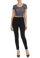 All About Eve - Daisy crop tee Black/White