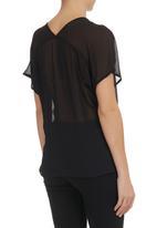 edit - V-neck elasticated blouse Black
