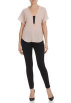 edit - V-neck elasticated blouse Stone/Beige