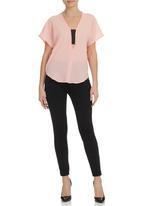 edit - V-neck elasticated blouse Coral