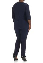 Megalo - Jumpsuit with wrap front Navy