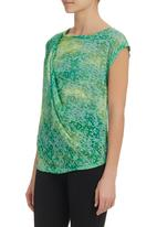 edge - Burn-out draped top Green