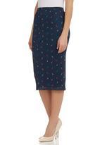 STYLE REPUBLIC - Bird-print pencil skirt Navy