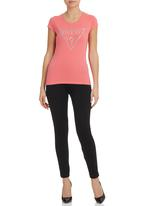 GUESS - Cap Sleeve Brush Triangle Tee Pale Pink
