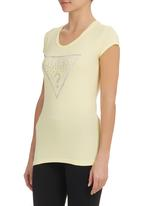 GUESS - Cap Sleeve Brush Triangle Tee Yellow