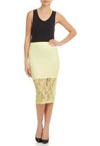 STYLE REPUBLIC - Lace Pencil Skirt Yellow