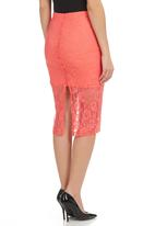STYLE REPUBLIC - Lace Pencil Skirt Coral