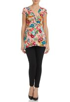 Annabella - Twist Front Tunic Multi-colour