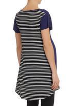 Astrid Ray - Chloe Tee With Stripes Navy