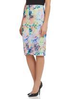 adam&eve; - Drew Pencil Skirt With Front Slit Detail Multi-colour