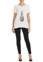 STYLE REPUBLIC - Pineapple-print Boxy T-shirt Milk