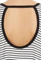 Slick - Christie Open Back Striped Top Black/White