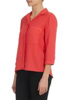 Jenja - Spice 3/4 Sleeve Shirt Red