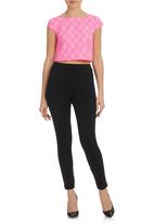 STYLE REPUBLIC - Lace Crop Top Pink