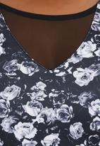 City Chic - Peplum Roses Top Black/White
