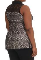 City Chic - Overlay Lace Shirt Black