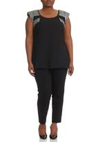 City Chic - Sequin Splice Top Black