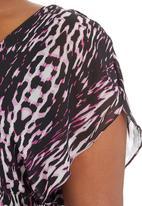 City Chic - Animal-Print Flutter Dress  Tan