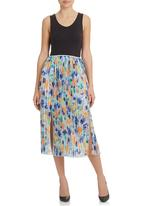 STYLE REPUBLIC - Printed Midi Skirt with Pleats Multi-colour