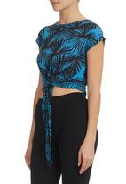 STYLE REPUBLIC - Printed Top With Tie Detail Cobalt