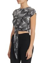STYLE REPUBLIC - Printed Top With Tie Detail Grey