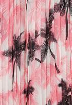 STYLE REPUBLIC - Palm-printed Pleated Midi Skirt Mid Pink