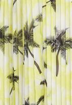 STYLE REPUBLIC - Palm-printed Pleated Midi Skirt Yellow