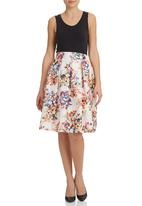 STYLE REPUBLIC - Sateen Floral Skirt Stone