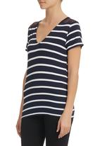 edit - Lace-Inset Striped Tee Navy
