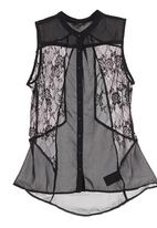 GUESS - Lace Geo Cut-out Top Black