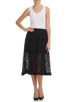 Nucleus - Midi Lace Skirt Black