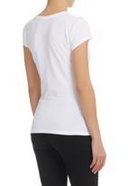 GUESS - Cap Sleeve Tropical T-Shirt White
