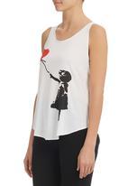 London Hub - Girl With Heart Balloon Tank Top Black/White