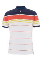 POLO - Placement Stripe Custom-fit Golfer Navy