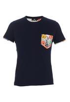 STYLE REPUBLIC - Floral-pocket T-shirt Navy
