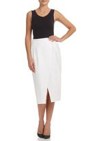 edit - Asymmetrical Midi Skirt White