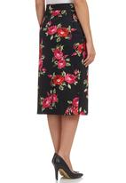 edit - Floral Asymmetrical Midi Skirt Multi-colour
