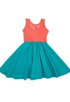 Charlie + Sophie - Colourblock Dress Coral