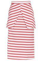 STYLE REPUBLIC - Stripe Peplum Skirt Red/White