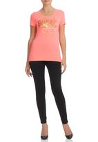 GUESS - Rhinestone Top Coral