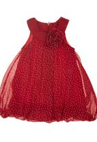 Phoebe & Floyd - Bubble Dress with Floral Detail Red
