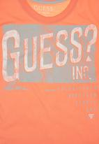 GUESS - T-shirt with Guess Branding Orange