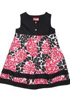 Twin Clothing. - Floral Underbust Cut-Line Dress Dark Pink
