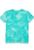 GUESS - T-shirt with Palm Print Green