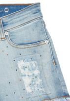 GUESS - Girls Light-wash Denim Shorts Blue