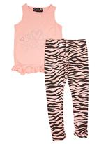 Twin Clothing. - Tiger-stripe Set Pale Pink