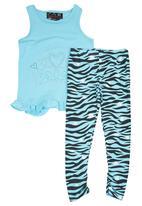 Twin Clothing. - Tiger-stripe Set Turquoise