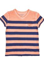 GUESS - V-neck T-shirt with Stripes Orange
